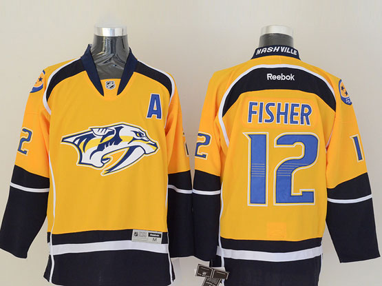 Mens reebok nhl nashville predators #12 fisher yellow (2014 new) a patch Jersey
