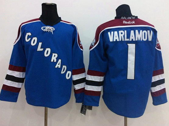 Mens reebok nhl colorado avalanche #1 varlamov blue Jersey