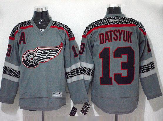 mens reebok nhl Detroit Red Wings #13 Pavel Datsyuk gray cross check premier fashion jersey