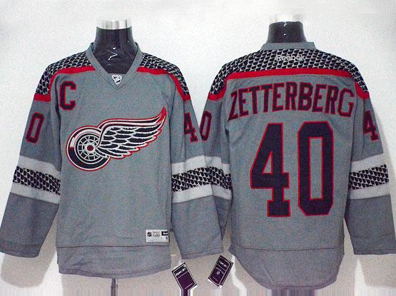 Mens Reebok Nhl Detroit Red Wings #40 Zetterberg Gray Cross Check Premier Fashion Jersey