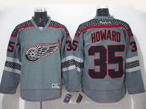 Mens Reebok Nhl Detroit Red Wings #35 Howard Gray Cross Check Premier Fashion Jersey