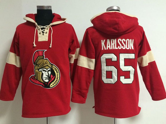 Mens nhl ottawa senators #65 karlsson red (new single color) hoodie Jersey