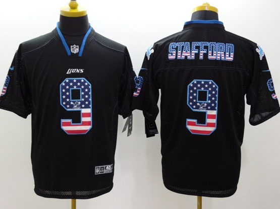 Mens Nfl Detroit Lions #9 Stafford Black (2014 Usa Flag Fashion) Elite Jersey