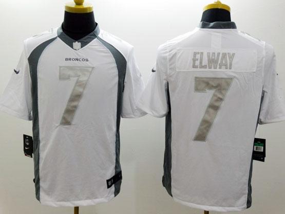 Mens Nfl Denver Broncos #7 Elway White (silver Number) Platinum Limited Jersey