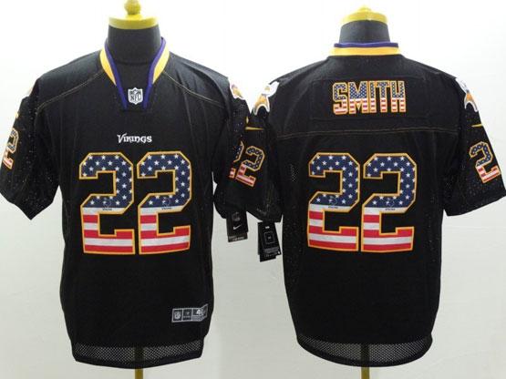 Mens Nfl Minnesota Vikings #22 Smith Black (2014 Usa Flag Fashion) Elite Jersey