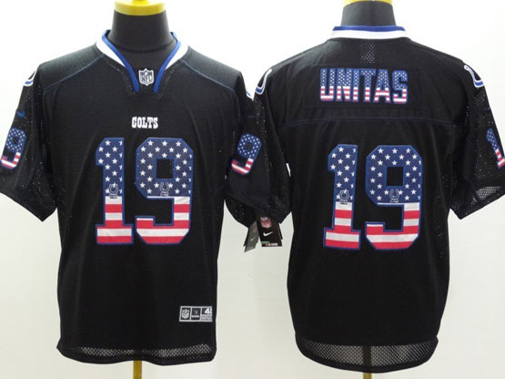Mens Nfl Indianapolis Colts #19 Unitas Black (2014 Usa Flag Fashion) Elite Jersey