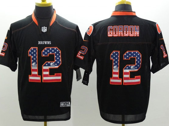 Mens Nfl Cleveland Browns #12 Gordon Black (2014 Usa Flag Fashion) Elite Jersey