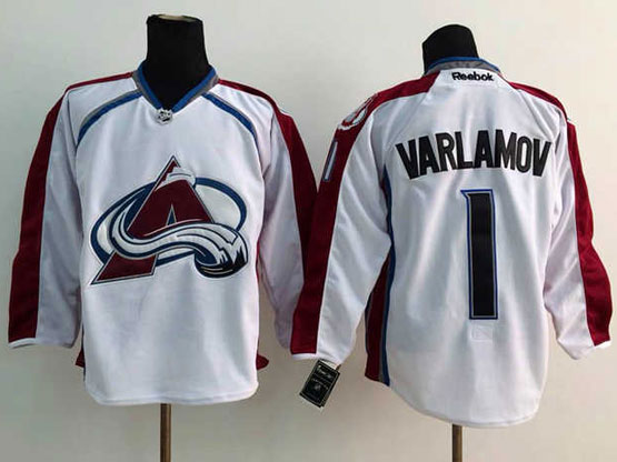 Mens reebok nhl colorado avalanche #1 varlamov white Jersey