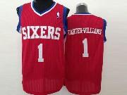 Mens Nba Philadelphia 76ers #1 Carter-williams Red (white Number) Mesh Jersey