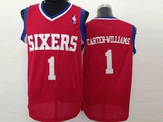 Mens Nba Philadelphia Sixers #1 Carter-williams Red (white Number) Mesh Jersey