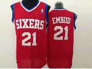 Mens Nba Philadelphia 76ers #21 Embid Red (white Number) Mesh Jersey