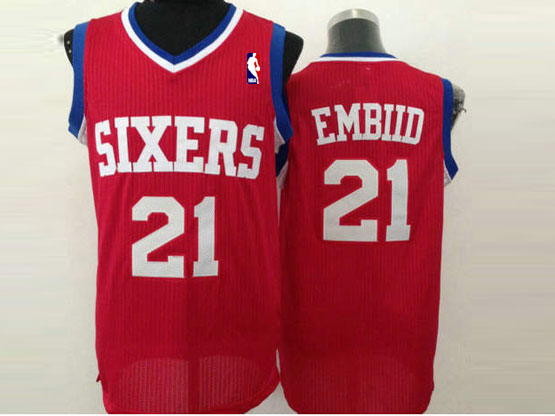 Mens Nba Philadelphia Sixers #21 Embid Red (white Number) Mesh Jersey