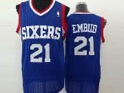 Mens Nba Philadelphia 76ers #21 Embid Blue (white Number) Mesh Jersey