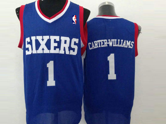 Mens Nba Philadelphia 76ers #1 Carter-williams Blue (white Number) Mesh Jersey