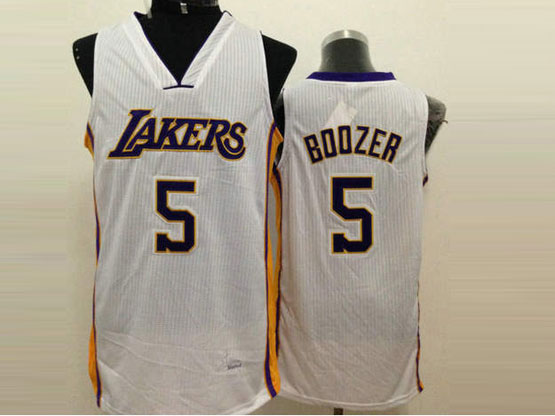 Mens Nba Los Angeles Lakers #5 Boozer White Jersey (sn)