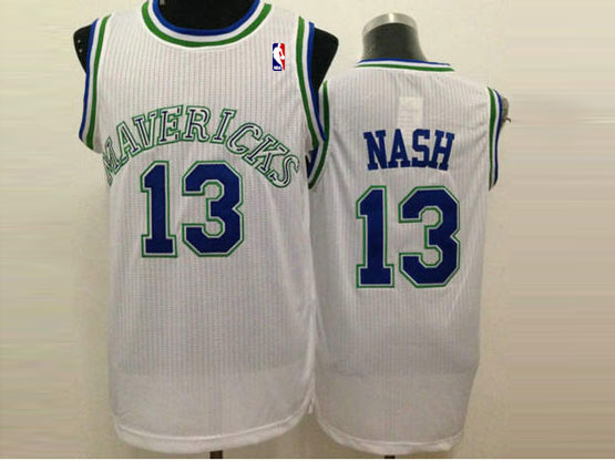 Mens Nba Dallas Mavericks #13 Nash White (crew Neck) Jersey
