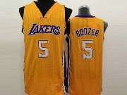 Mens Nba Los Angeles Lakers #5 Boozer Gold Jersey (sn)