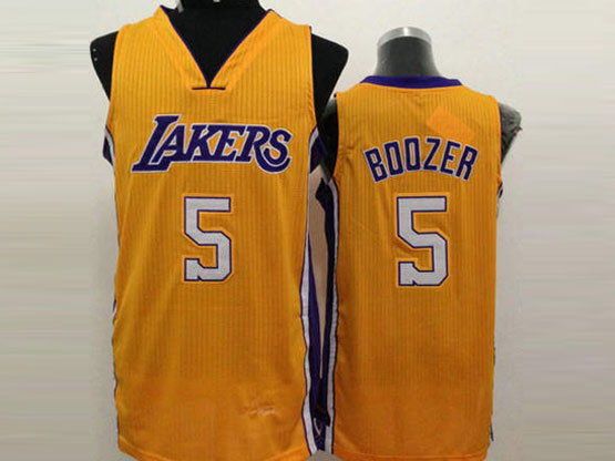 Mens Nba Los Angeles Lakers #5 Boozer Yellow Jersey (sn)