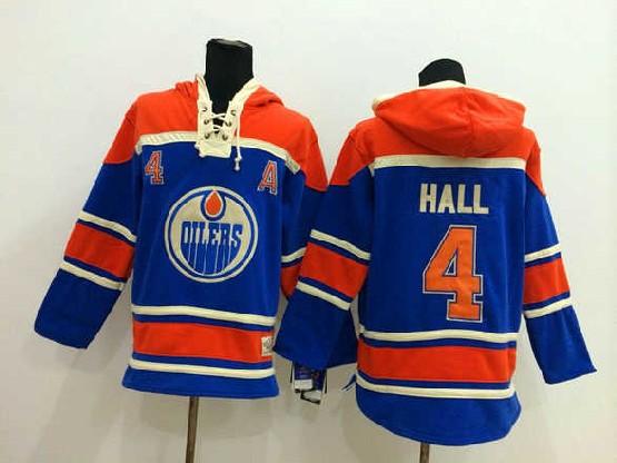Mens nhl edmonton oilers #4 hall blue hoodie Jersey