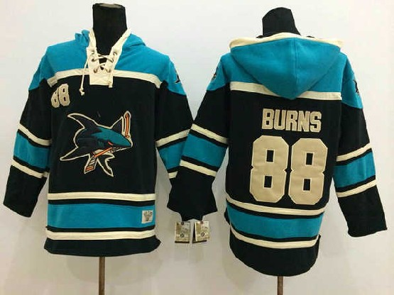 Mens nhl san jose sharks #88 burns black hoodie Jersey