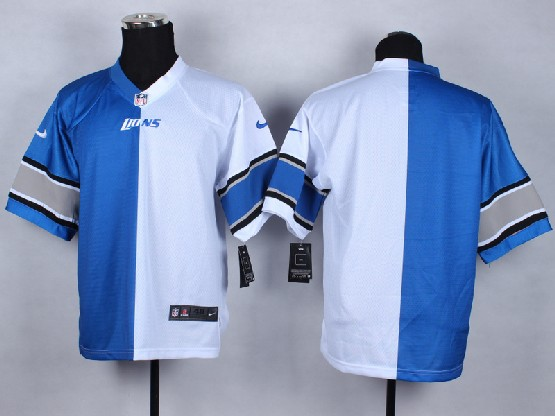 Mens Nfl Detroit Lions (blank) White&blue Split Elite Jersey