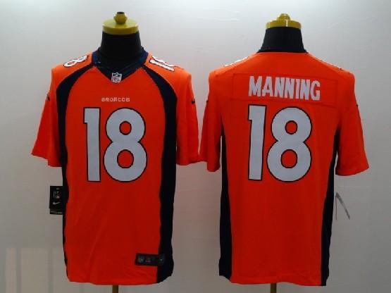 Mens Nfl Denver Broncos #18 Manning Orange (2014 Game) Jersey