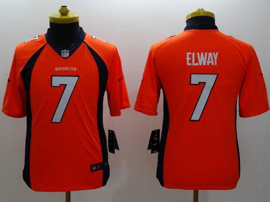 Youth Nfl Denver Broncos #7 Elway Orange (2014 New) Limited Jersey