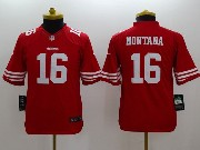 Youth Nfl San Francisco 49ers #16 Montana Red Limited Jersey