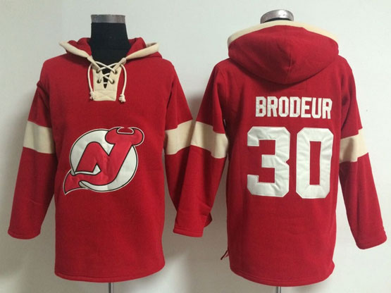 Mens nhl new jersey devils #30 brodeur red (new single color) hoodie Jersey