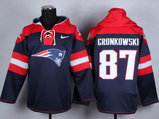 Mens nfl new england patriots #87 gronkowski blue (new single color) hoodie Jersey