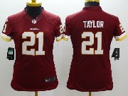 Women  Nfl Washington Redskins #21 Taylor Red (white Number) Limited Jersey