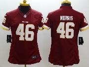 Women  Nfl Washington Redskins #46 Morris Red (white Number) Limited Jersey