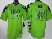 Youth Nfl Seattle Seahawks #18 Rice Green Game Jersey