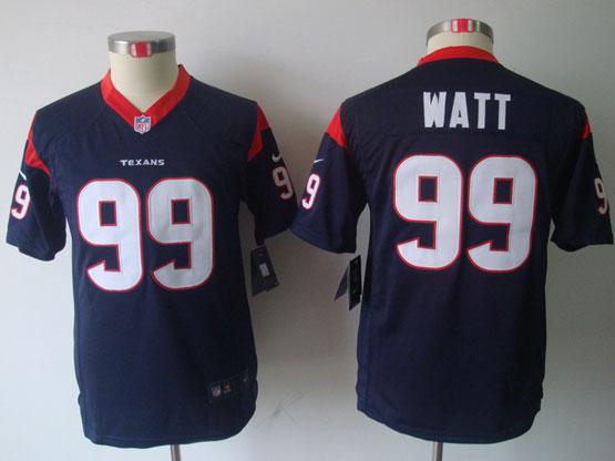 youth nfl Houston Texans #99 JJ Watt blue game jersey