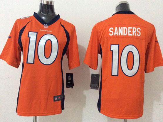 Youth Nfl Denver Broncos #10 Sanders Orange (2014 New) Game Jersey