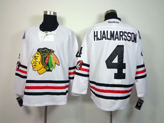 Mens reebok nhl chicago blackhawks #4 hjalmarsson white (2015 winter classic) Jersey