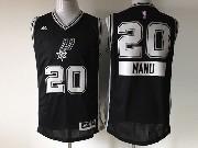 Mens Nba San Antonio Spurs #20 Manu (2014 New Christmas) Black Jersey