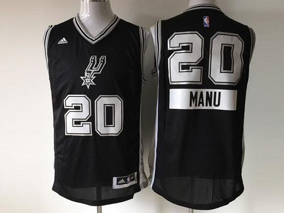 Mens Nba San Antonio Spurs #20 Manu (2014 New Christmas) Black Jersey