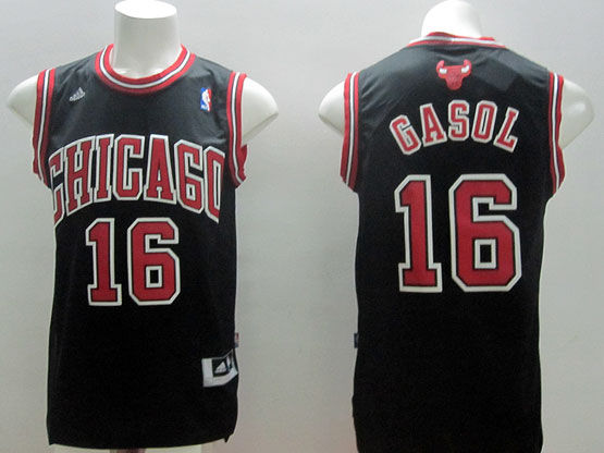 Mens Nba Chicago Bulls #16 Gasol Black (red Number) Jersey