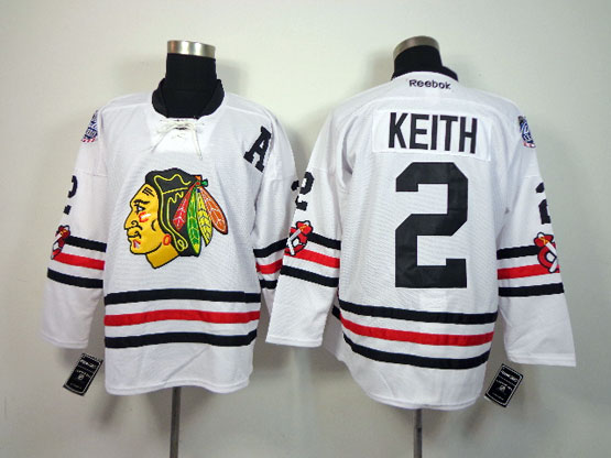 Mens reebok nhl chicago blackhawks #2 keith white (2015 winter classic) Jersey