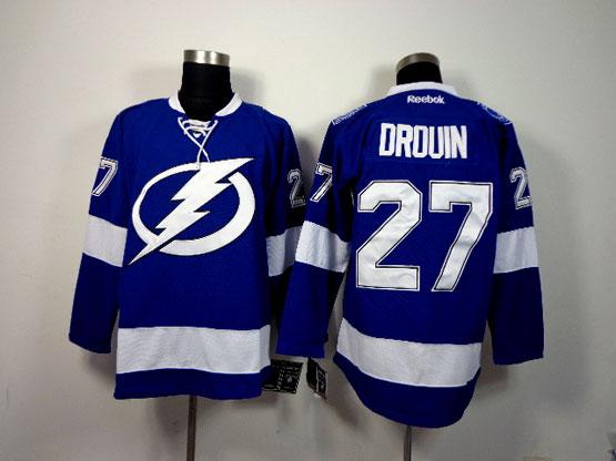 Mens reebok nhl tampa bay lightning #27 drouin blue Jersey