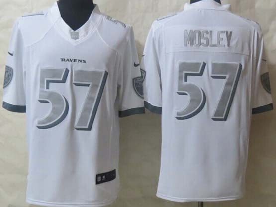 Mens Nfl Baltimore Ravens #57 C. J Mosley White (silver Number) Platinum Limited Jersey