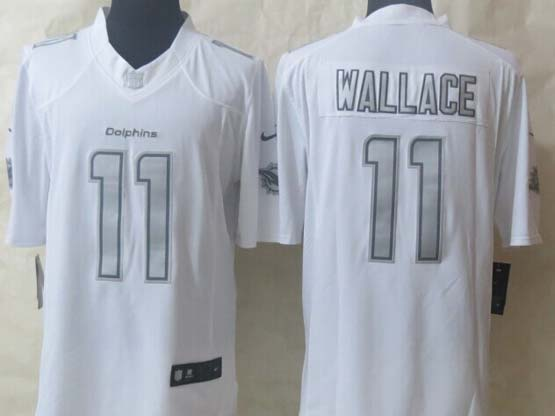 Mens Nfl Miami Dolphins #11 Wallace White (silver Number) Platinum Limited Jersey