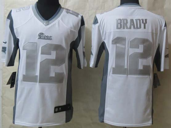 mens nfl New England Patriots #12 Tom Brady white (silver number) platinum limited jersey