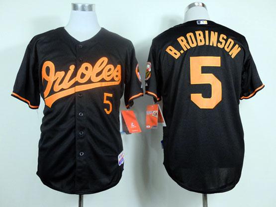 Mens mlb baltimore orioles #5 b.robinson black&orange number Jersey
