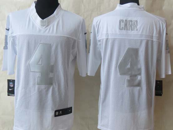 mens nfl Oakland Raiders #4 Derek Carr white (silver number) platinum limited jersey
