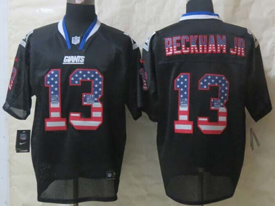 mens nfl New York Giants #13 Odell Beckham Jr black (2014 usa flag fashion) elite jersey