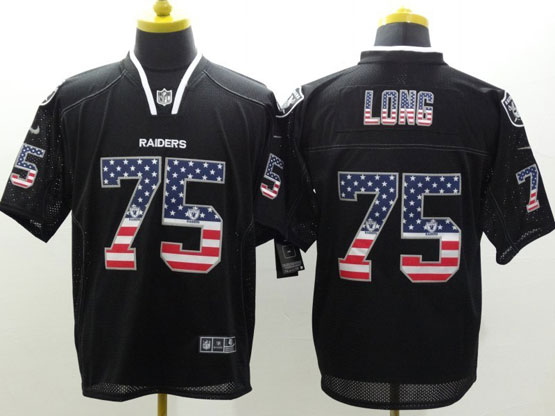 Mens Nfl Oakland Raiders #75 Long Black (2014 Usa Flag Fashion) Elite Jersey