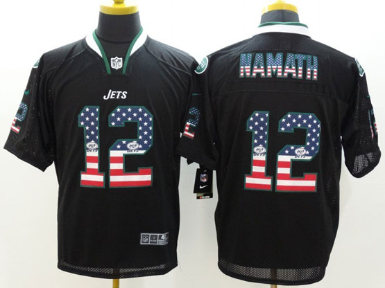 Mens Nfl New York Jets #12 Namath Black (2014 Usa Flag Fashion) Elite Jersey
