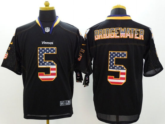 Mens Nfl Minnesota Vikings #5 Bridgewater Black (2014 Usa Flag Fashion) Elite Jersey